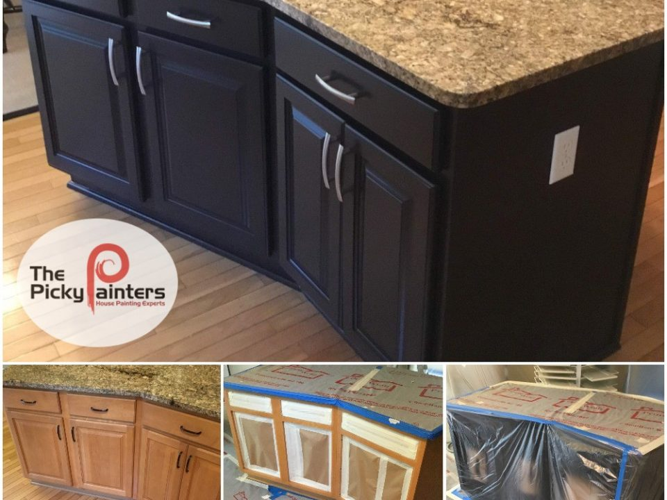 Kitchen Cabinet Refinishing. Black accent island cabinet refinishing in Westlake Ohio