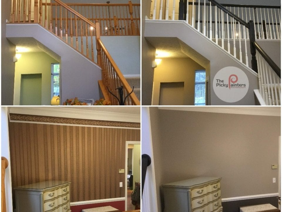 Interior Painting, stain to paint, wallpaper removal